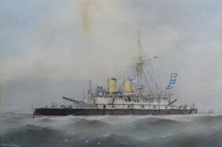 William MacKenzie Thomson Study of an Admiral Class Battleship, possibly HMS Rodney, 30 x 44 cms