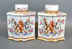 A Pair of late 19th Century French possible Samson porcelain armorial tea caddies decorated in