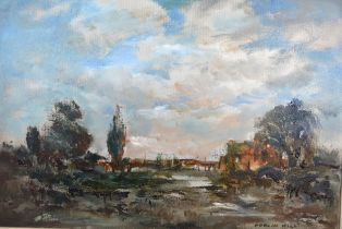 Adrian Hill, The Wooden Bridge, oil on board, signed, 55cms x 75cms