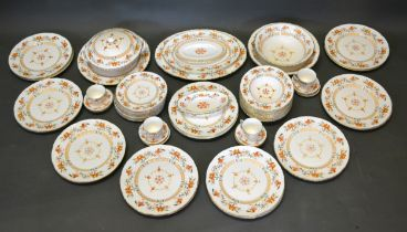 A Royal Worcester Chamberlain Pattern Dinner Service comprising plates, a covered tureen, soup