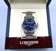 A Longines Conquest Stainless Steel Cased Gentleman's Wrist Watch, the blue dial with date