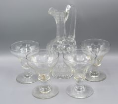 A Cut-Glass Jug with shaped handle together with four early glasses with tapering bowls and circular