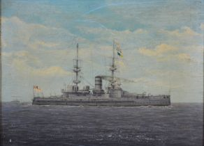 Early 20th Century English School, HMS Victorious, oil on board, 20 x 28 cms