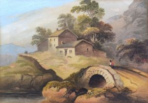 19th Century English School 'Figure On A Bridge Before Buildings' watercolour, 22 x 32 cms