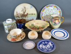 A Royal Worcester Commemorative Tea Caddy together with a collection of other ceramics to include