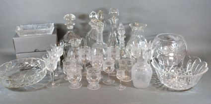 A Collection of Glass Ware to include decanters and drinking glasses including Waterford
