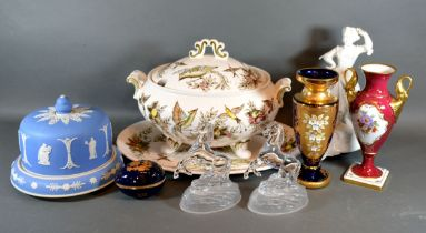 A Victorian Tureen Cover and Stand together with a Jasper Ware cheese dome and stand and other items
