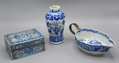 A 19th Century Chinese Underglaze Blue Decorated Small Vase, 13 cms tall together with a Chinese