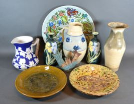 A Studio Pottery Lustre Bowl decorated with Fish, together with other ceramics to include a pair
