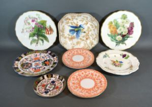A Derby Dish decorated with bird amongst foliage together with various other Derby cabinet plates