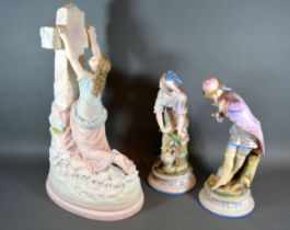 A Large Continental Bisque Group 'Rock of Ages' 45 cms tall together with a pair of similar bisque