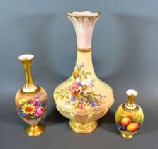 A Royal Worcester Porcelain Vase hand painted by Ernest Barker 18.5 cms tall together with another