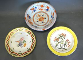 A Derby Porcelain Cabinet Plate together with a similar cabinet plate and an Imari bowl
