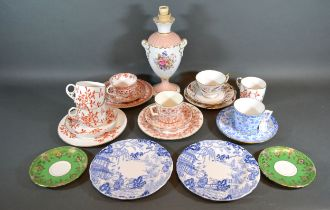 A Royal Crown Derby Porcelain Table Lamp, together with various Royal Crown Derby cups and saucers