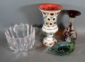 A Bohemian Cameo Glass Vase, 23 cms tall together with three other items of glass ware