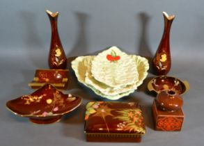 A Pair of Carlton Ware Rouge Royale Spill Vases together with four other items of Carlton Ware Rouge