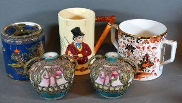 A Crown Devon Fieldings John Peel Musical Mug together with a Fenton Two Handled Mug, a Carlton Ware