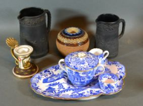 A Royal Doulton Stone Ware Match Striker together with two Wedgwood Basalt Jugs, a Copeland Willow
