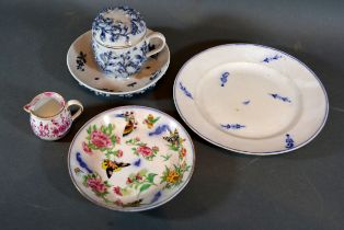 A German Porcelain Dish together with a similar cream jug, a chocolate pot cover and stand and a
