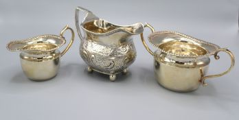 A George III Silver Sauce Jug London 1808 together with a Birmingham silver two handled sucrier