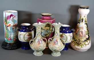 A Victorian Glass Vase of tapering form together with a collection of other vases