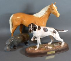 A Beswick Model of a Horse together with a similar model of a Hippopotamus and a Beswick model of