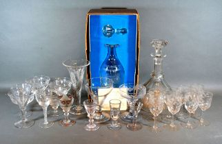 A Collection of 19th Century and later glass ware to include a decanter