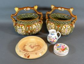 A Pair of Majolica Style Baskets together with a Royal Worcester Jug and two other items