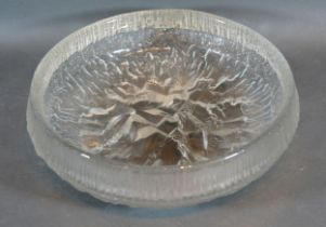 A White Friars Glass Bowl Glacier Pattern 27 cms diameter
