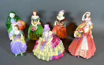 A Coalport Figure 'Marilyn' together with another 'Market Woman' another 'Judith Anne' another '
