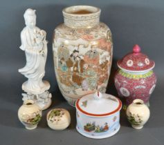 A Satsuma Earthenware Vase 26 cms tall together with a Blanc de Chine figure and various other