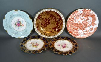 A Royal Crown Derby Chinoiserie Decorated Cabinet Plate, together with other various Royal Crown