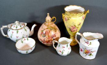 A Royal Crown Derby Porcelain Jug Vase together with a Royal Crown Derby breakfast set, a similar