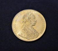 Gold Austria 1915 Restrike Four Ducat Gold Plated on Copper