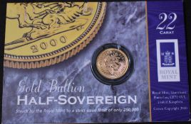 Gold Half Sovereign 2005, Capsule in a Royal Mint Information Card.