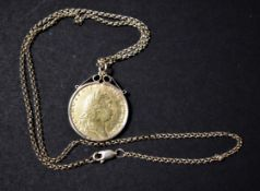Gold 1791 Guinea George III Mounted as a Necklace with a Gold Chain, Boxed. S. 3729
