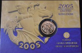 Gold Half Sovereign 2000, Capsule in a Royal Mint information card.