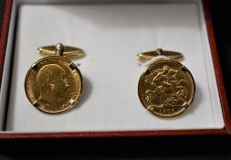 Gold Half Sovereigns (2) 1906 Edward VII as a pair of Cuff Links (Links are 9ct), Boxed.