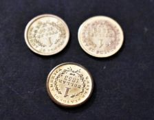 Gold USA Dollars 1849 (Genuine), 1853, 1853 and the two 1853 (Gold Plated), (Three Coins)