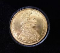 Gold Austrian 1915 Four Ducat Gold Plated on Copper Restrike, boxed.