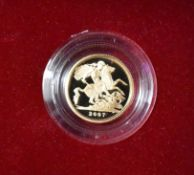 Gold Proof Half Sovereign 2007, Boxed. Royal Mint 2957 of 5000, with Certificate.