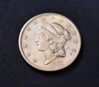 Gold USA 1861 Liberty Head Twenty Dollar minted in San Francisco, approx 33.4 Grams .900