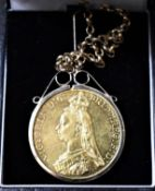 Gold 1887 Five Pounds Victoria S. 3864 Mounted for a Necklace with a Gold Chain. Boxed