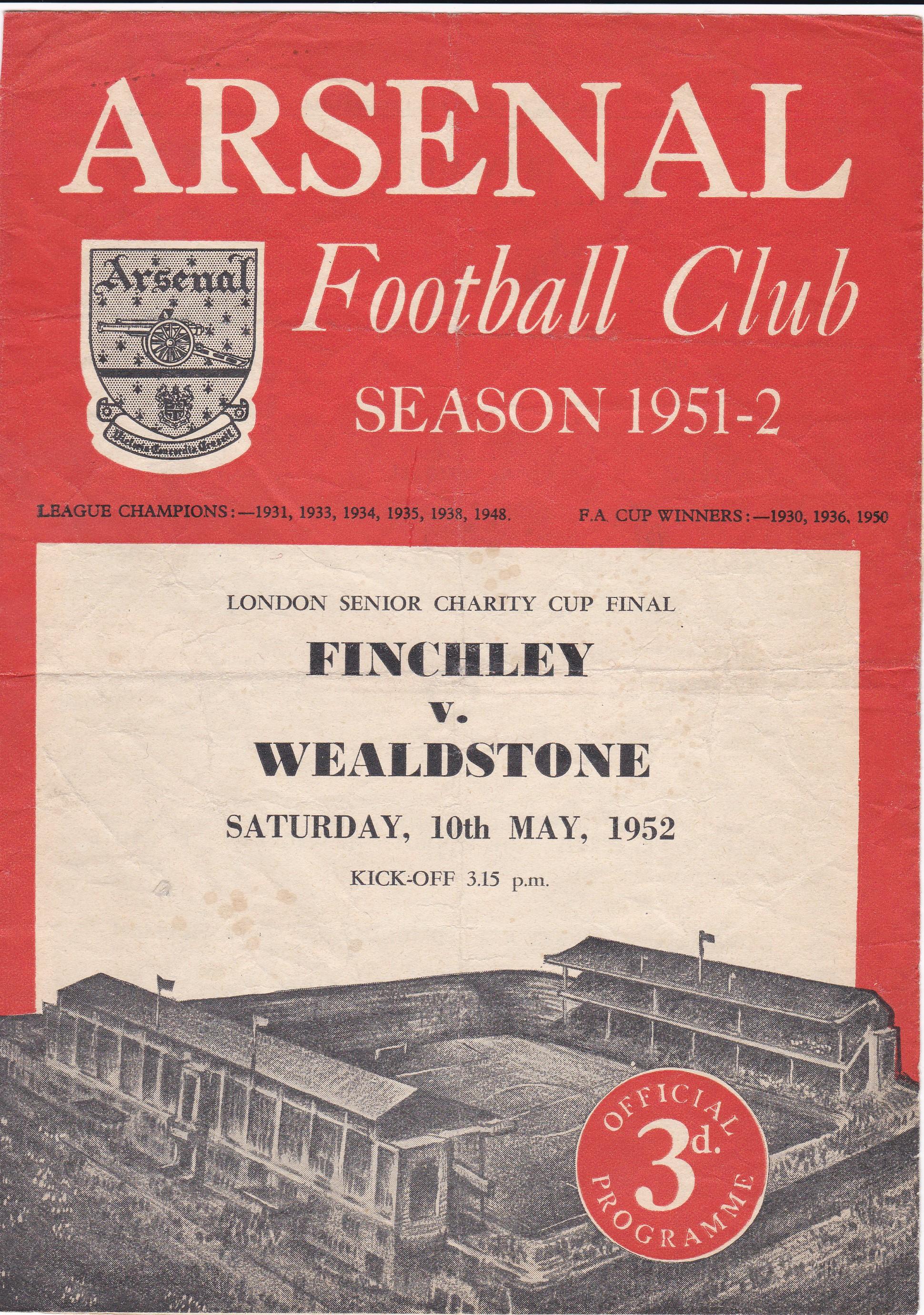 Finchley v Wealdstone 1952 May 10th London Senior Charity Cup Final played at Arsenal horizontal and