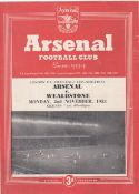 Arsenal v Wealdstone 1953 November 2nd London FA Challenge Cup Semi-Final some vertical crease