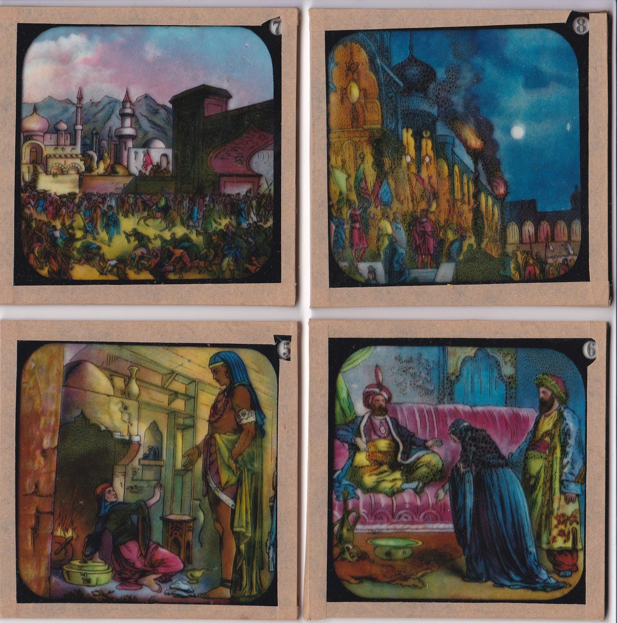 "Aladdin Magic Lantern Slides (Part set 11/12 in total), the ""Indcol"" Coloured Optical Lantern - Image 2 of 2"