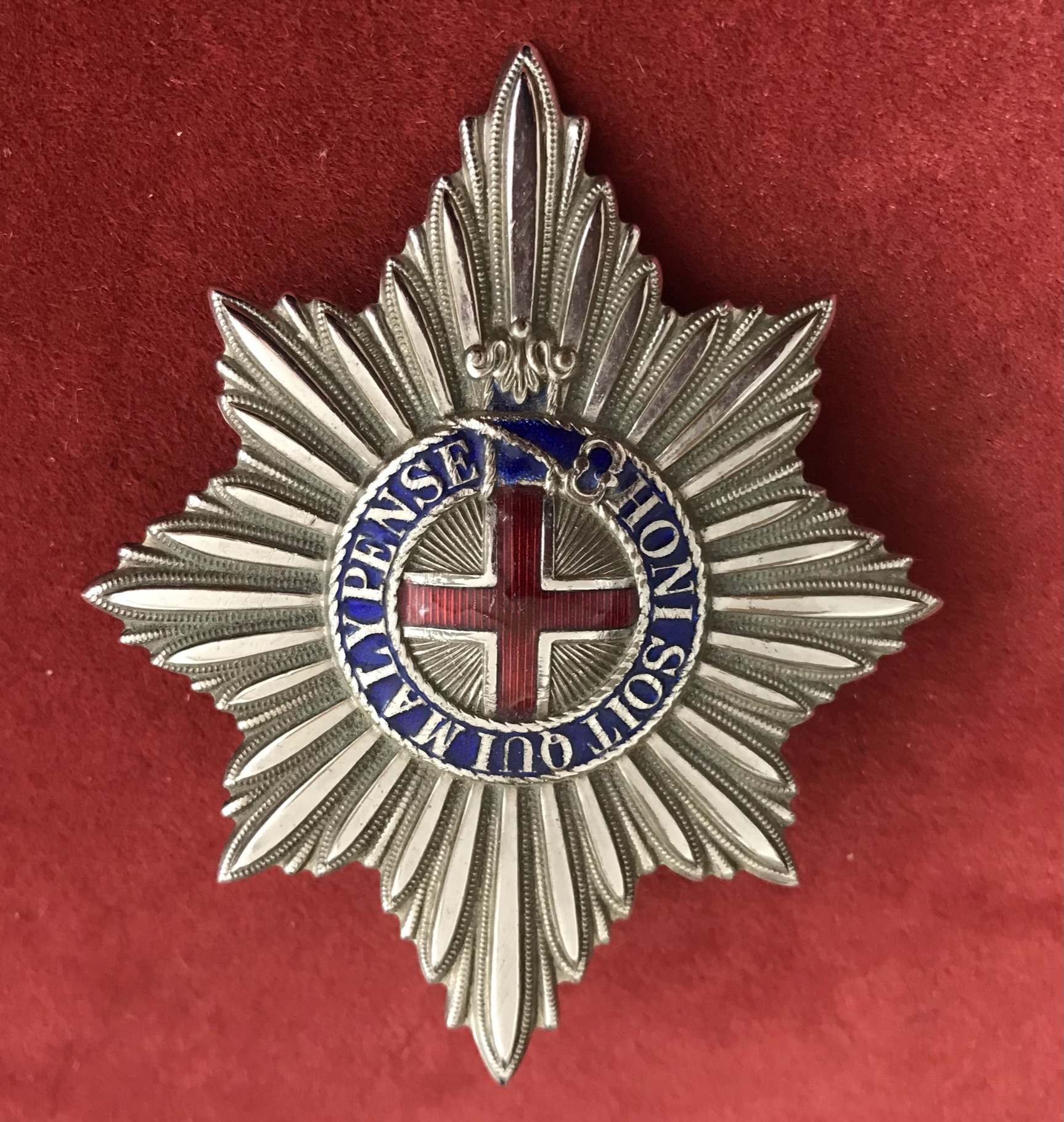 British Coldstream Guards Valise Badge (White-metal and enamel), two lugs. Possibly a later piece,