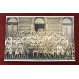 Royal Engineers Tyne Brigade Territorial Division WWI group photo RP Postcard, shows the men in