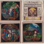 "Ali Baba Magic Lantern Slides (12 in total), the ""Indcol"" Coloured Optical Lantern Sliders all in"