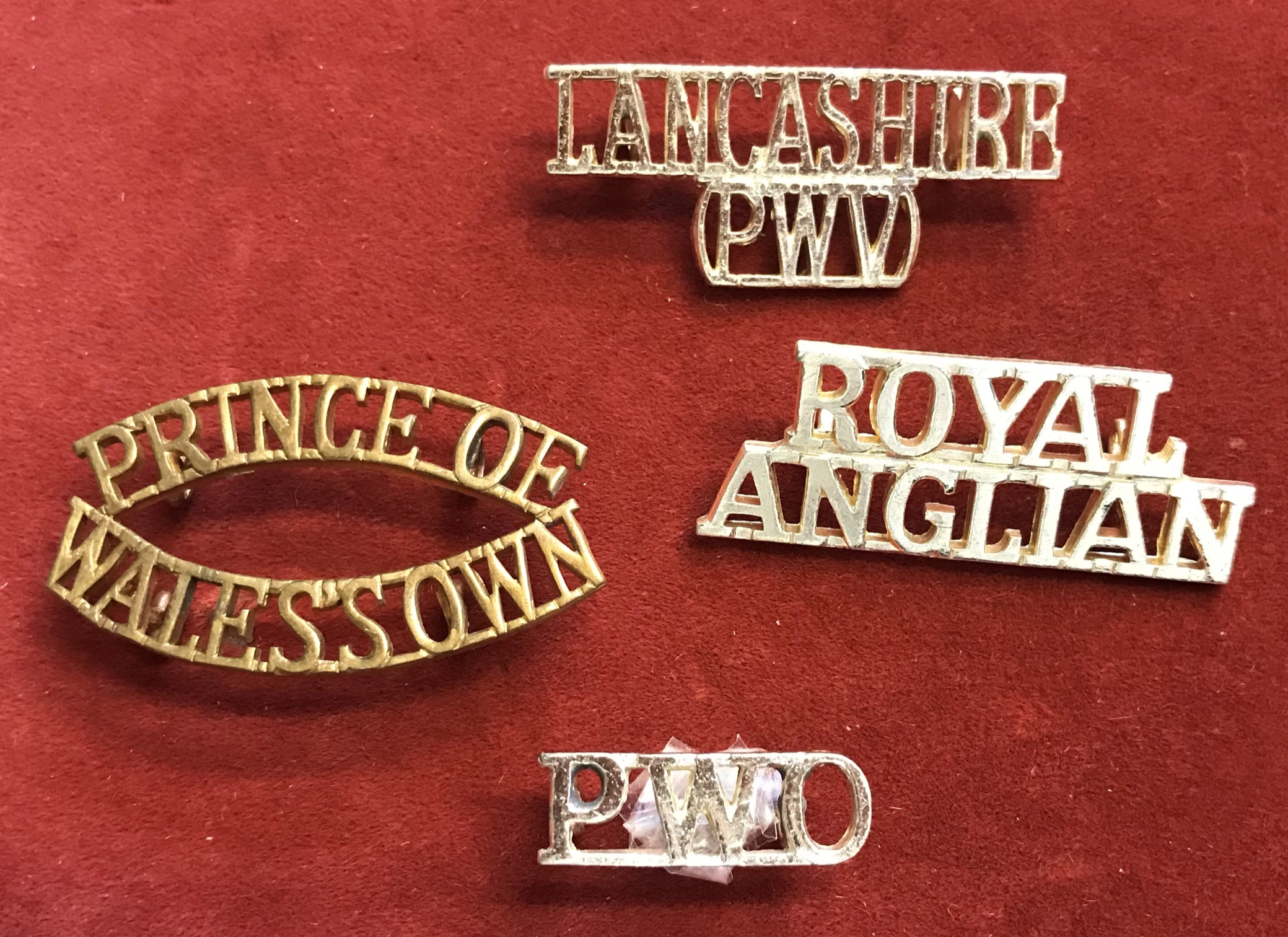 British Shoulder Titles (4) including: Prince of Wales's Own, Royal Anglian, Lancashire (PWV) (in